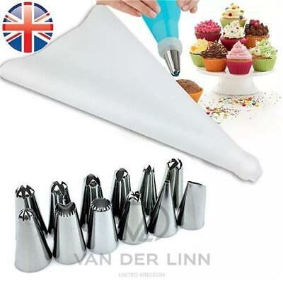 £3.48 • Buy Silicone Icing Piping Bag + 12 Nozzles Set Cake Cupcake Decorate