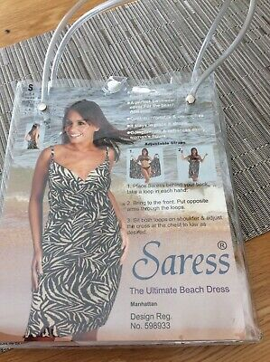 Saress Beach Dress Size Small (UK 8-10) Adjustable Straps Black And White • 1.40£