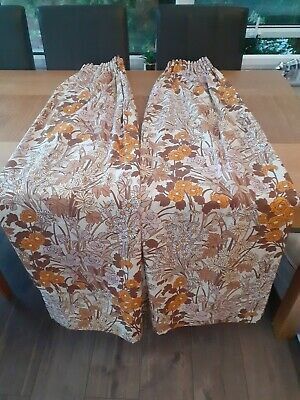 Brown And Orange Floral Retro Vintage 70s Curtains 64  Wide 56  Drop  • 30£