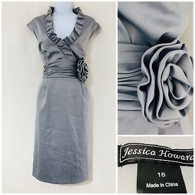 Jessica Howard Dress Size 18 Women's Silver Party Slimming Silky Ruffle Prom Eve • 14.99£