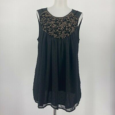 $ CDN39.53 • Buy Anthropologie One September Top Black Tank Embroidered Floral Size Medium