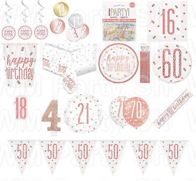 Rose Gold Happy Birthday Party Glitz Tableware Table Decorations Plates Balloons • 1.99£
