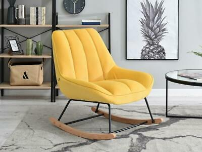 Brand New Yellow Modern Rocking Chair Velvet Nursery • 235£