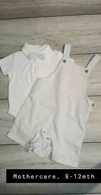 Baby Mothercare Set, Grey Dungaree Bow Tie Shirt Size 9-12 Months • 2£