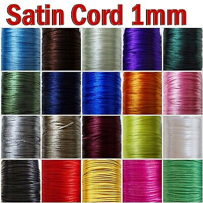 Satin Cord 1mm , 20 Colors ,10m To 50m Jewellery Making Craft Bracelet Necklace • 2.20£