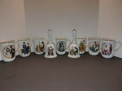 $ CDN25.03 • Buy Norman Rockwell Collection 1982 7 Coffee Mugs Cups Gold Trim & 2 Bells