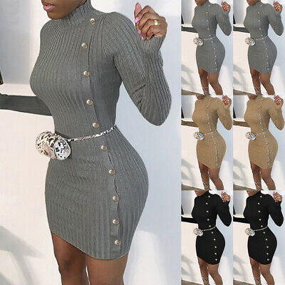 Womens Knitted Jumper Dress Bodycon Ladies Winter Long Sleeve Party Mini Dress • 11.89£