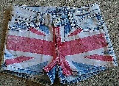Denim Co Girls Union Jack Shorts Age 7-8 Years • 1.90£