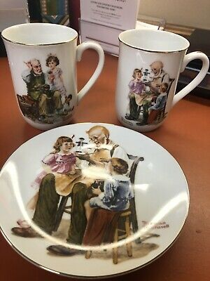 $ CDN14.49 • Buy 3 Pc Norman Rockwell Limited Edition Mugs And Plate Toymaker & Cobbler 1982