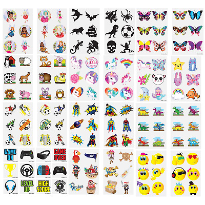 TEMPORARY TATTOOS Sheets Kids Children's Novelty Birthday Party Loot Bag Fillers • 0.99£