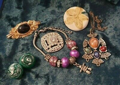 Jewellery Joblot Necklace Bracelet 3 Brooches Earrings • 1.50£