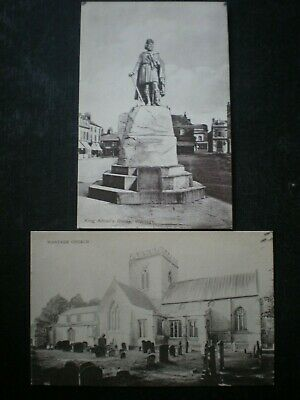 2 Wantage Berkshire Postcards: Wantage Church & King Alfred Statue • 1.99£