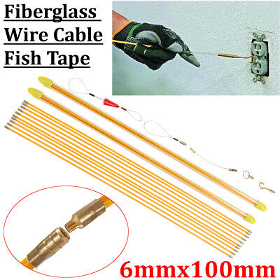 10x1M 6mm Fiberglass Wire Cable Rod Puller Electrical Fish Tape Pull & Pu • 39.59£