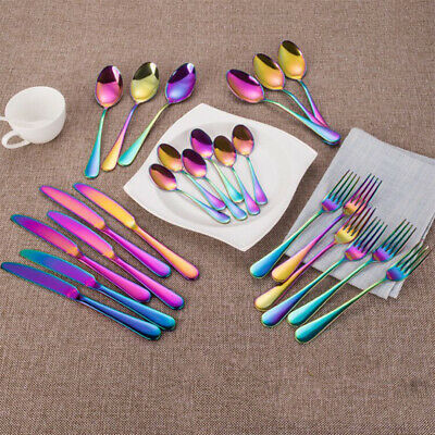 £21.68 • Buy 24pcs Stainless Steel Cutlery Sets Rainbow Colorful Fork Spoon Knife For Dining