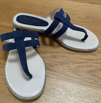 AU20 • Buy Nine West Navy 7 Suede Leather Slides Strappy Sandals Shoes EXcellent Condition