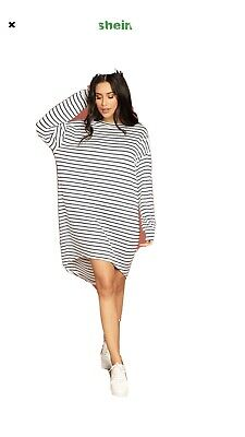 SHEIN Striped High Low Slouchy T Shirt Dresses X 2 Red And Blue Size L • 2.30£
