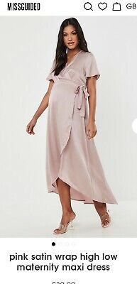 MISSGUIDED PINK SATIN WRAP HIGH LOW MATERNITY MAXI DRESS Size 12 BRAND NEW!  • 10£
