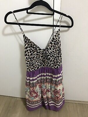 AU30 • Buy Tigerlily Leopard Print Dress Purple Size 10 Tie & Button Closure A-Line