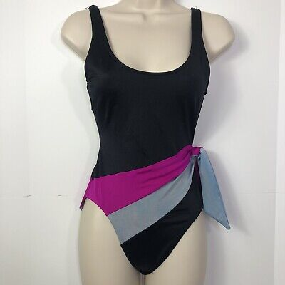 AU17.03 • Buy Vintage 80s Mainstream One Piece Swimsuit Swim Suit Sz 8 Black Gray Pink Tie