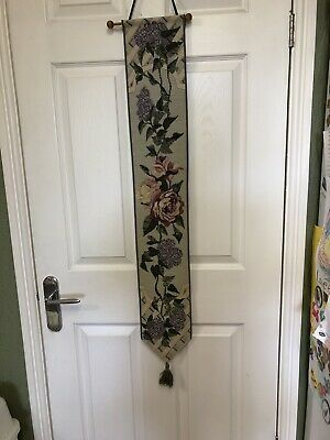 "Long Tapestry Wall Hanging - Bell Pull -new Lilac Time 43"" X 6.5"" • 18£"