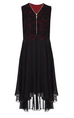 Black + Red Plus Size 18 20 Lace Zip High Low Dress (Goth Emo Punk?) RRP £40 • 0.99£