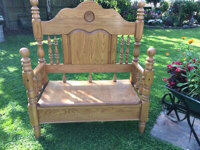 Hand Made Oak Settle Bench, Hall, Bedroom Seat. Upcycled Headboard.  • 125£