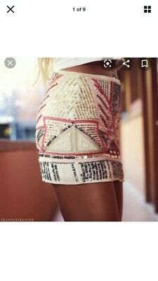 Zara Skirt Pink Gold Sequinned Beaded Sequinned Aztec Ethnic ..  Size Large • 5.25£