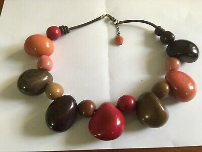 Jackie Brazil Pebble Necklace, Rich Autumn Colours, Excellent Condition • 32.50£