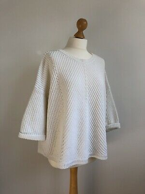 Whistles White Cotton Slouchy Cotton Ribbed Knit Jumper Size 12 • 12£