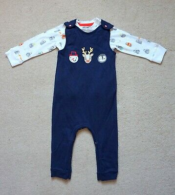 New Debenhams Bluezoo Toddler/Baby 12-18 Months Christmas Dungarees&Top Outfit • 15£