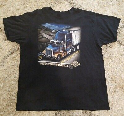 $ CDN132.71 • Buy Vintage 1989 TRUCKERS ONLY Follow Nobody 3D Emblem T-Shirt Size Mens Large