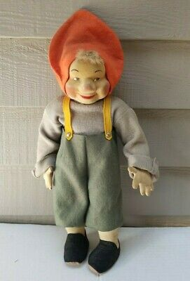 $29.99 • Buy Vintage Gnome Cloth Doll Hand Painted Molded Face 14  Tall - A Bit Dusty & Dirty