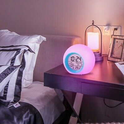 AU21.77 • Buy 7 Colour LED Change Digital Glowing Alarm Clock Night Light For Kids Bedroom US