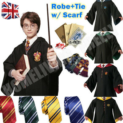 Robe+Tie+Scarf Set Harry Potter Costume Gryffindor Halloween Cosplay Party Xmas • 15.39£