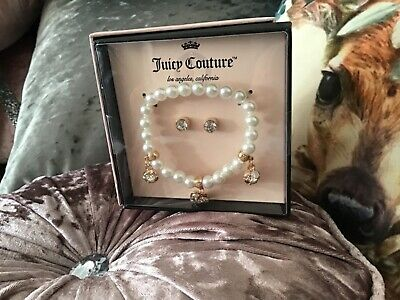 New Juicy Couture Beautiful Pearl Style Charm Bracelet With 3 Charms & Earrings  • 20£