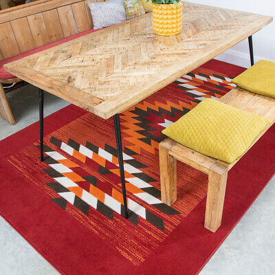 Red Traditional Rugs Aztec Tribal Living Room Rug Small Large Rugs Hall Runners • 19.95£