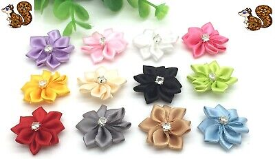 Pack Of 8 Satin Ribbon Poinsettia Flowers With Diamante Center • 1.80£