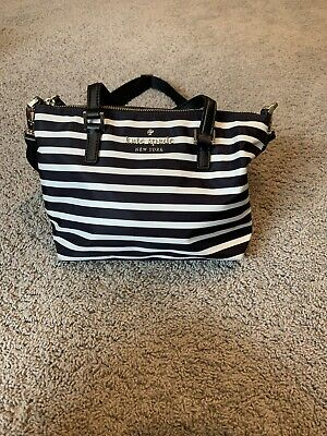 $ CDN53.62 • Buy Kate Spade Black And Cream Striped Nylon Crossbody Purse