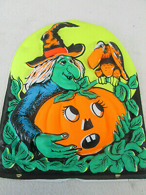 $ CDN33.32 • Buy Vintage Witch Pumpkin Vulture 3D Molded Plastic Halloween Decoration