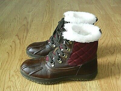 Lands' End Ladies Lace-up Snow Boots Brown & Burgundy With Fur Size 7 / 40 • 14.99£