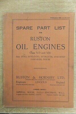 Ruston Hornsby Class VO & VH Oil Engines Parts List Book Vintage Antique • 7.99£