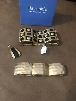 $ CDN66.40 • Buy Lia Sophia 3 Piece Lot 2 Stretch Cuff Bracelets Gold/black Plus 1 Pendant NEW