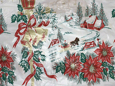 $ CDN9.32 • Buy Vintage Tablecloth Vinyl Reversible  50's 60s Graphics Christmas Birthday