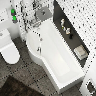 1500/1600/1700mm P Shaped Shower Bath With Screen Bathtub Front & End Panel • 322.99£