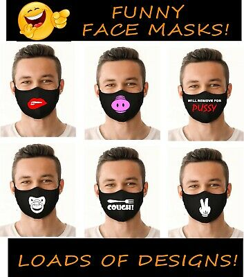 FUNNY Face Masks Mask Covering Novelty Logos Music Rude Mouth • 5.99£