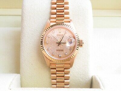 AU11890 • Buy Authentic Rolex President Ladies Watch Jubilee Diamond Dial 18K Solid YellowGold