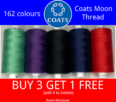 Coats Moon Polyester Sewing Thread 1000 Yard Reels Hand/Machine All Colour's • 1.95£