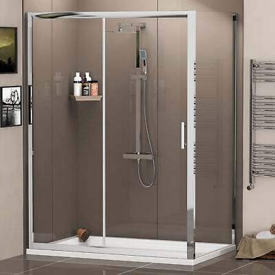 Sliding Door Shower Enclosure And Side Panel + Shower Tray 6mm Cubicle Glass • 190.99£
