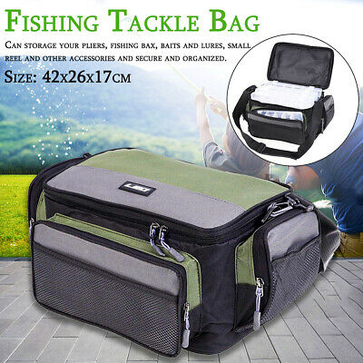 AU27.89 • Buy Fishing Tackle Bag Pack Waist Shoulder Waterproof Box Reel Lure Gear Storage