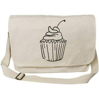 'Cherry Cupcake' Cotton Canvas Messenger Bags (MS012759) • 14.99£